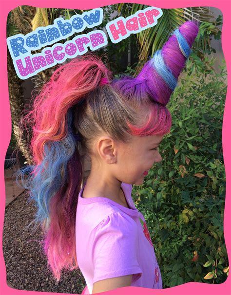 spray paint unicorn hair day favorite rainbow unicorn hair we used a