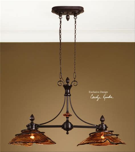 Bronze Island Light Fixtures Uttermost Rubbed Bronze 2 Light Kitchen Island Fixture From The Vitalia Collection