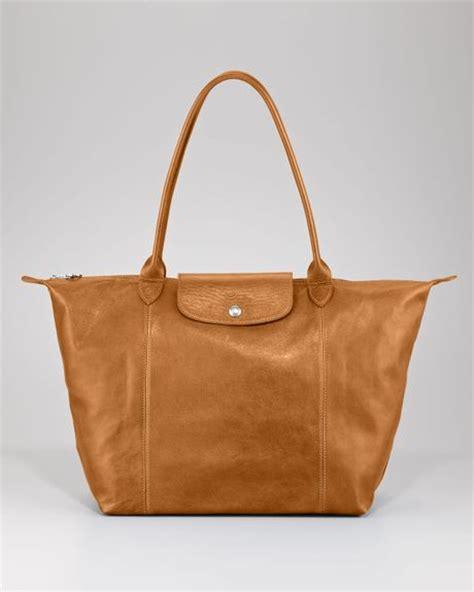 Longch Le Pliage Cuir Lcs longch le pliage cuir shoulder tote bag in brown camel lyst