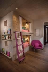 Interior arrangement for retro bunk beds girls room design ideas blue