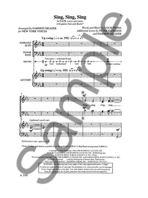 sing sing sing with a swing louis prima sheet louis prima sing sing sing with a swing