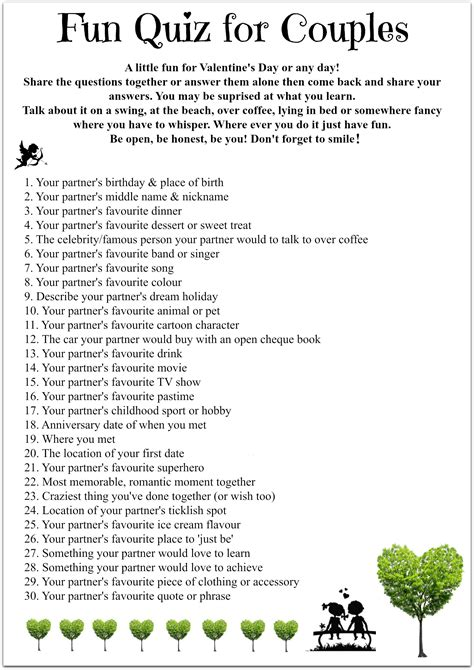 printable relationship quiz fun quiz for couples