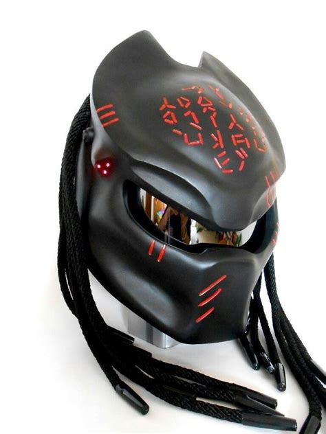 motorcycle gear predator motorcycle helmet in black with red alien