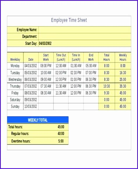 8 Timesheet Excel Templates Exceltemplates Exceltemplates Excel Weekly Timesheet Template With Formulas