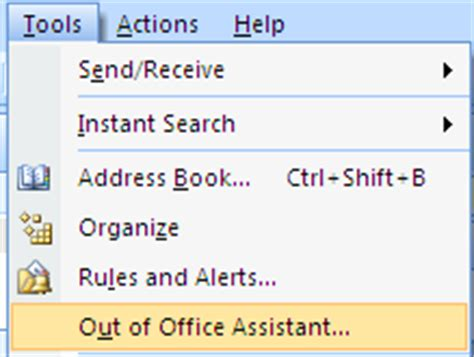 Out Of Office Notification by How To Set Away Message In Outlook