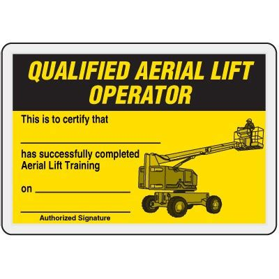 Qualified Aerial Lift Operator Card Ehs Templates Pinterest Scissor Lift Certification Card Template