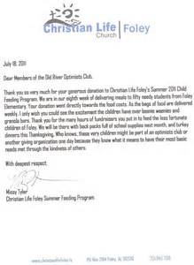 river optimist club thank you letter from christian
