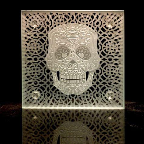 handmade sugar skull decorative etched glass coasters