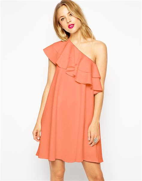 one shoulder swing dress asos swing dress in scuba with one shoulder and ruffle