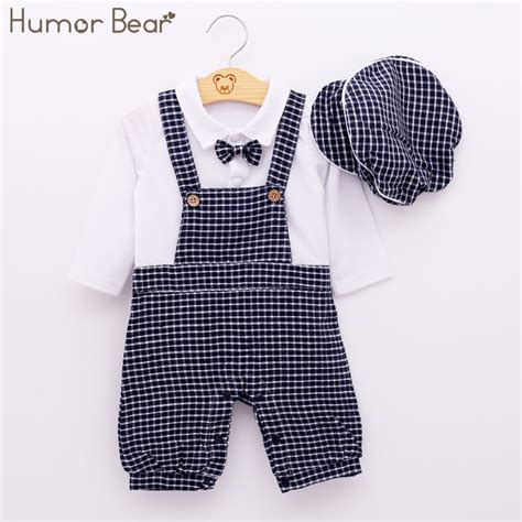 3 In 1 Suspender Square Shirt Baby Bears Boy humor newborn baby boy clothing set autumn style