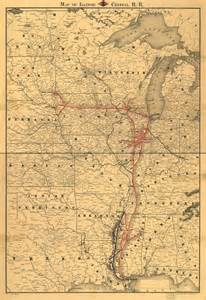 central of railroad map illinois central railroad 1892 route map ebay
