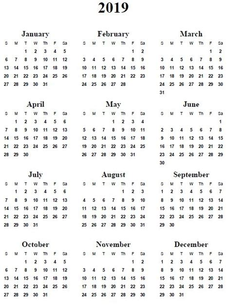 printable yearly calendar 2019 free printable 2019 yearly calendar postrendy com