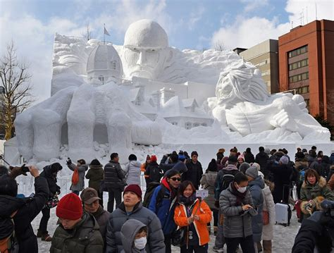 shingeki no kyojin park photo special sapporo snow festival sculptures entertain