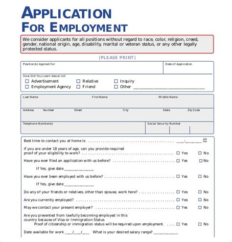 employment application template free 21 employment application templates pdf doc free
