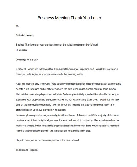 thank you business letter sles after meeting sle business thank you letter 7 exles in pdf word