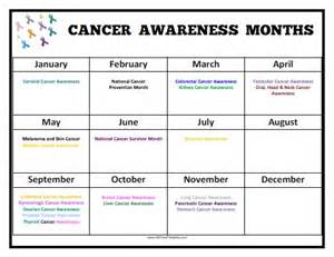 awareness months and colors cancer awareness months calendar free printable
