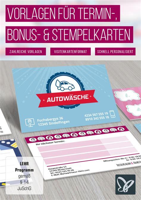 Grafik Design Vorlagen vorlagen f 252 r termin bonus und stempelkarten tutkit