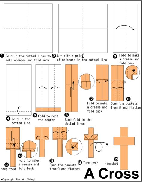 How To Make A Origami Cross - cross easy origami for