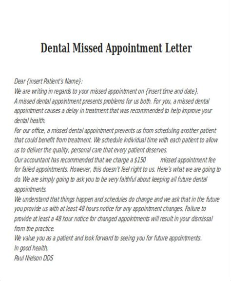 dentist appointment letter template 6 missed appointment letter templates free sles