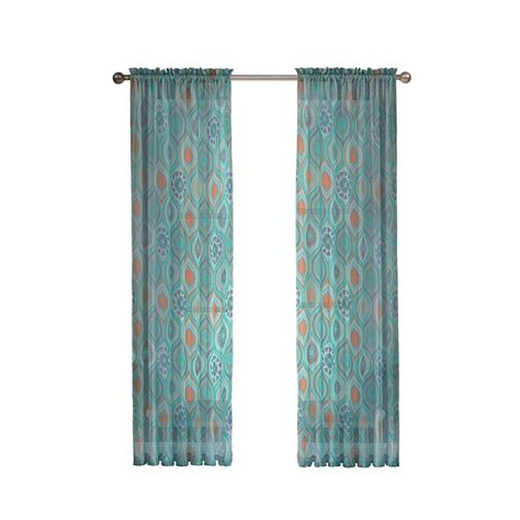 Aqua Sheer Curtains Window Elements Olina Printed Sheer Aqua Grommet Wide Curtain Panel 54 In W X 84 In L