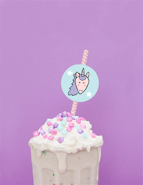 printable unicorn cake topper birthday cake milkshake unicorn straw toppers free