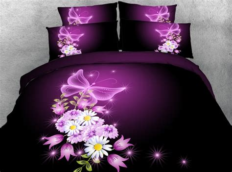 Bedcover 3d 3 In 1 180x200cm Femina 1 Set 3d purple floral bedding set flower quilt duvet cover bed sheet linen bedspread king