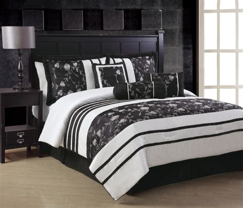 ava white black embroidery king queen comforter set or