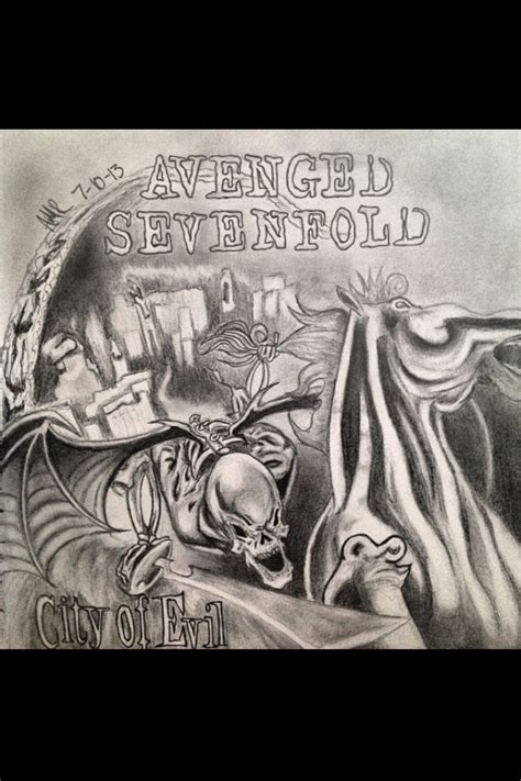 album artwork sketch avenged sevenfold city of evil album cover by artbyamr