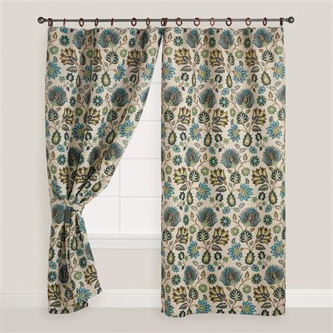 world market drapes floral spring bliss jute ring top curtain world market