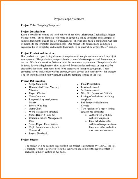 scope statement template 8 project scope statement exle registration