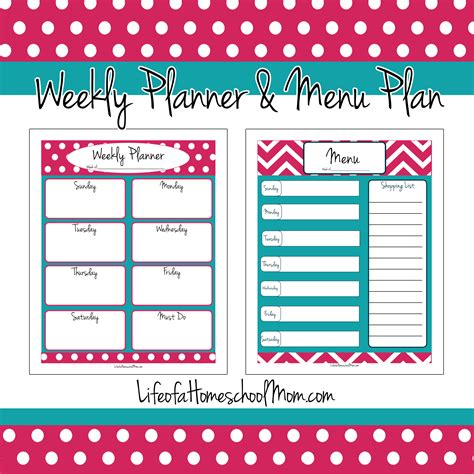 free printable school planner 2016 free weekly planner menu plan