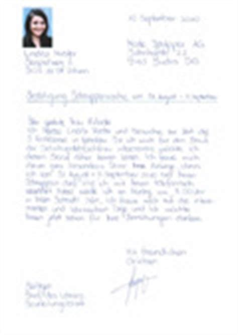 Bedanken Brief Beispiel Schnupperlehre