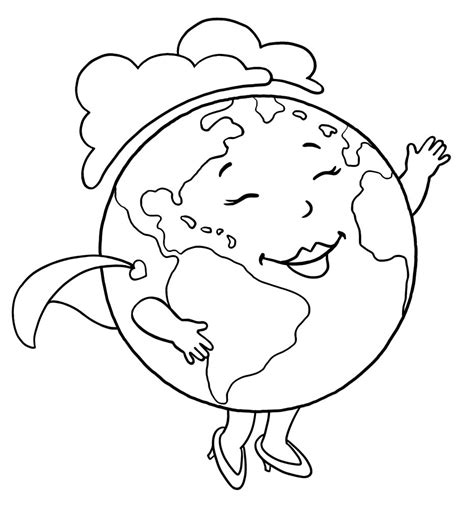 Earth Day Coloring Earth Coloring Page
