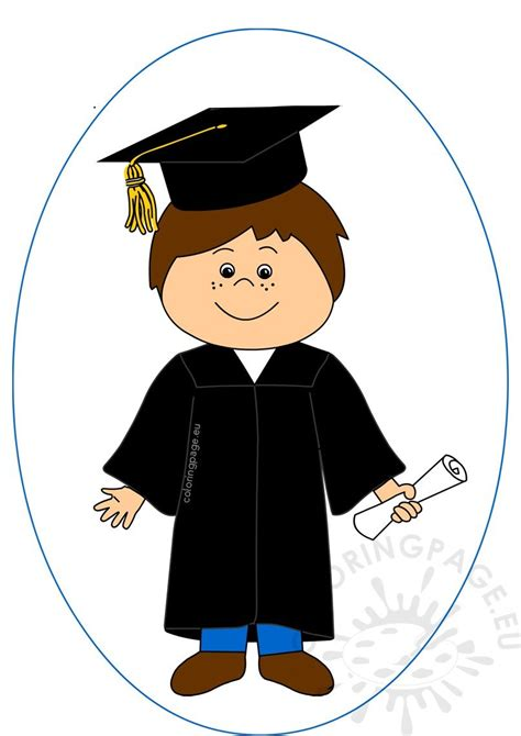 happy boy celebrating graduation day clipart coloring page