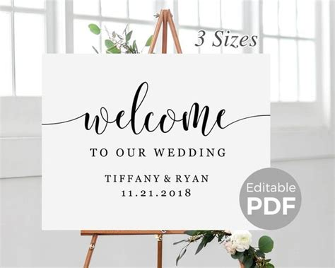 Rustic Welcome Sign Template For Wedding Printable Modern Welcome To Our Wedding Template Free