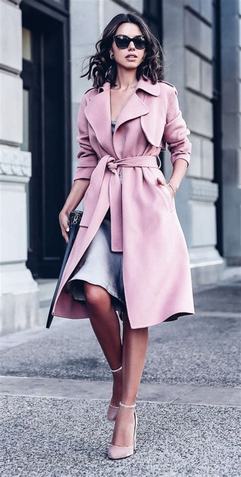 professional outfit  pink trench coat pictures