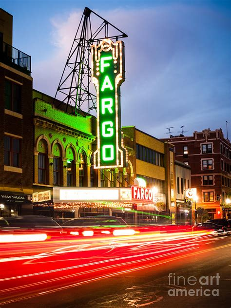 Movie Theatre Home Decor fargo theatre and downtown buidlings at night photograph