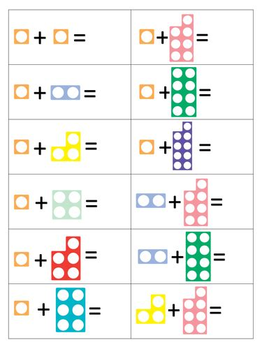 printable numicon number cards numicon addition to 10 preschool worksheet pinterest
