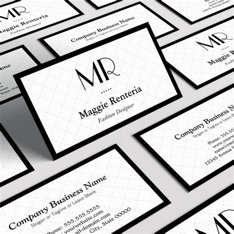 Free Monogram Business Card Templates by Fashion Stylish Monogram Clean White Black Border Business