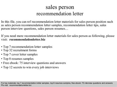 sle of letter of recommendation for sales person recommendation letter