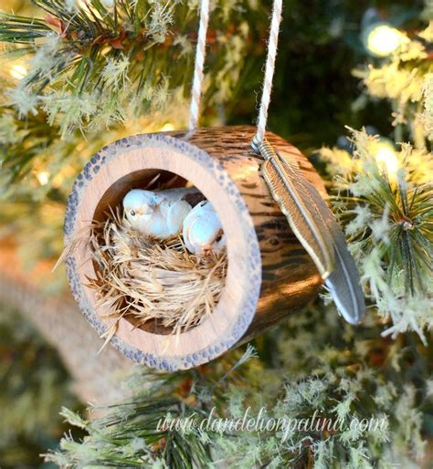 how to make a birds nest for xmas tree rustic log bird nest ornament dandelion patina