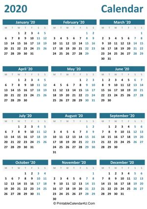 printable yearly calendar