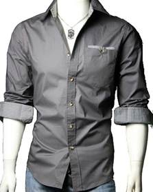 Plain White Duvet Set 02 Men S Casual Slim Fit Long Sleeve Dress Shirt Dark