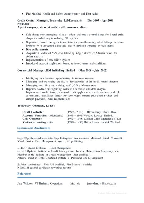 Credit Controller Sle Resume by Cv Gillian Peacock