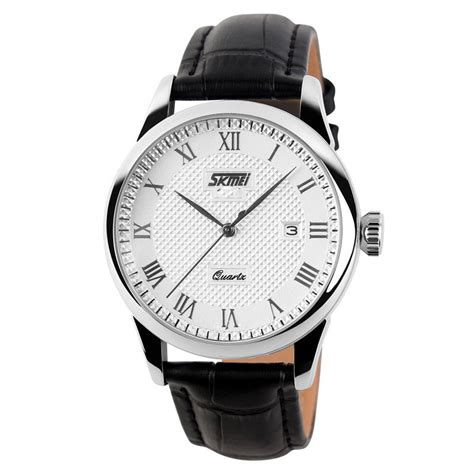 Leather Black White Jam Tangan Pria Cowok Swiss Army Sk250 Dual Time skmei jam tangan analog pria 9058cl white black jakartanotebook