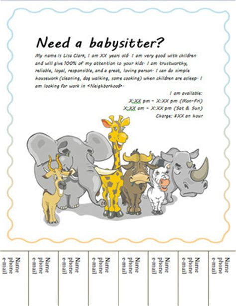 Free Babysitting Flyers Templates And Ideas Babysitting Ad Template