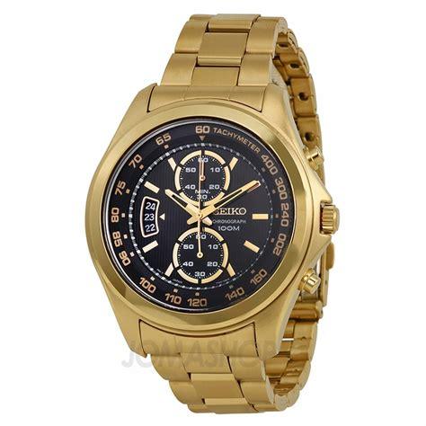 seiko chronograph black gold tone stainless steel