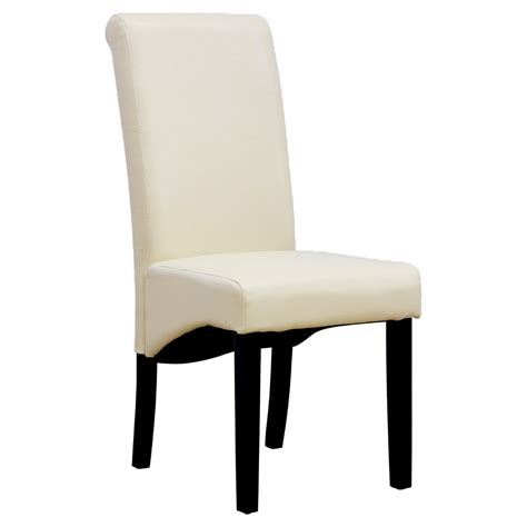 Ebay Leather Dining Chairs Cambridge Faux Leather Dining Chair W Roll Top High Back Solid Wood Legs Ebay