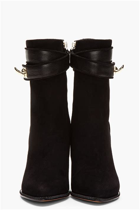 givenchy black suede shark lock ankle boots cishoes