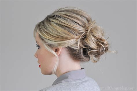 side buns for shoulder length fine hair the messiest of buns hair tutorial the small things blog